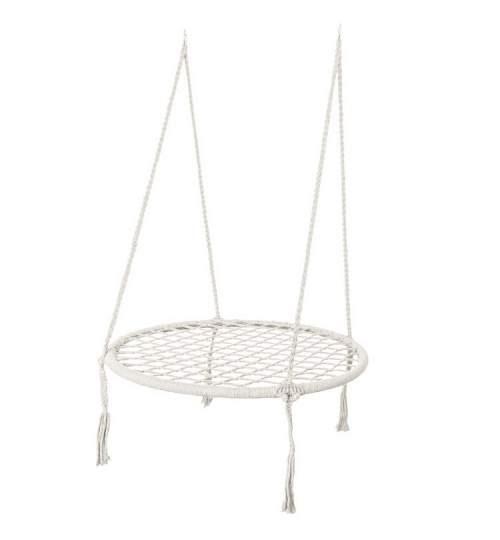 Leagan Balansoar rotund tip cuib pentru curte, gradina sau terasa, capacitate maxima 150kg, diametru 80cm, alb