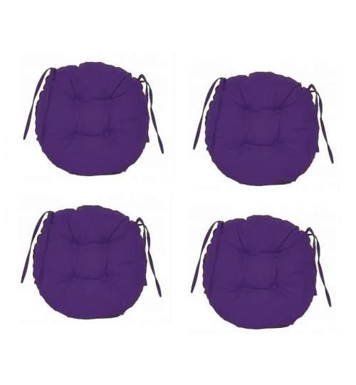 Set Perne decorative rotunde, pentru scaun de bucatarie sau terasa, diametrul 35cm, culoare mov, 4 buc/set