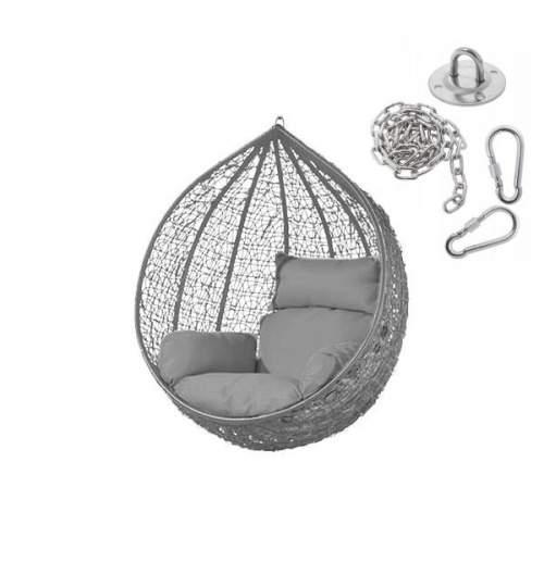 Fotoliu Balansoar cu Perna tip fotoliu, Capacitate 125kg, Culoare Gri + Kit accesorii pentru montare, fixare in tavan