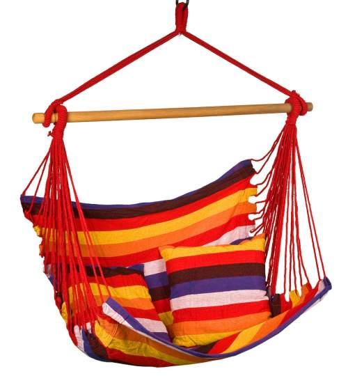 Hamac Brazilian tip Scaun Suspendat pentru Curte sau Gradina, cu 2 perne, 100x100cm, Multicolor
