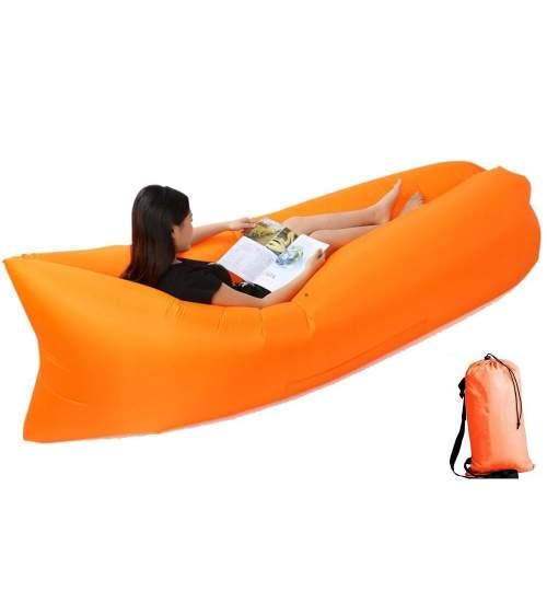 Saltea Gonflabila tip Sezlong Lazy Bag pentru Plaja sau Piscina, Umflare Rapida fara Pompa + Rucsac Depozitare, culoare portocaliu