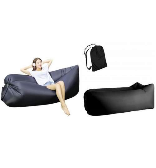 Saltea Gonflabila tip Sezlong Lazy Bag pentru Plaja sau Piscina, Umflare Rapida fara Pompa + Rucsac Depozitare, culoare negru