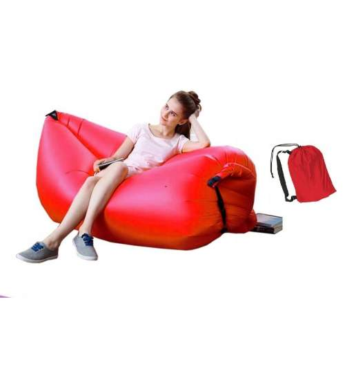 Saltea Gonflabila tip Sezlong Lazy Bag pentru Plaja sau Piscina, Umflare Rapida fara Pompa + Rucsac Depozitare rosu
