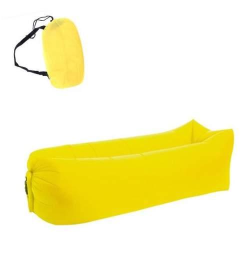 Saltea Gonflabila tip Sezlong Lazy Bag pentru Plaja sau Piscina, Umflare Rapida fara Pompa + Rucsac Depozitare, culoare galben