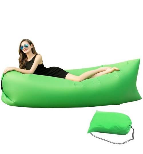 Saltea Gonflabila tip Sezlong Lazy Bag pentru Plaja sau Piscina, Umflare Rapida fara Pompa + Rucsac Depozitare, culoare verde