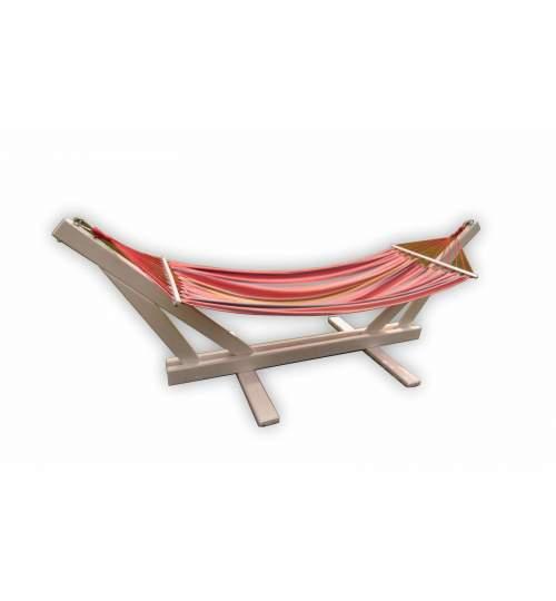 Set Hamac colorat cu bare si Suport din Lemn alb, inaltime 1.05m, design Premium , Capacitate 120kg