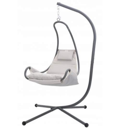 Balansoar tip sezlong cu saltea si perinita confortabile, cadru metalic, culoare gri deschis