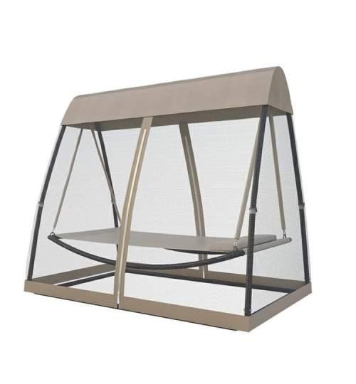 Pat leagan pentru curte sau gradina, cu acoperis si plasa de tantari, 2.6m x 1.4m x 2m