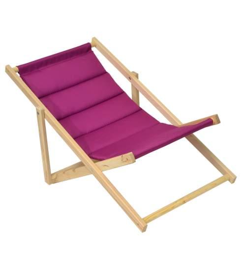 Scaun pliabil sezlong pentru plaja, gradina sau camping, cadru din lemn, culoare Mov