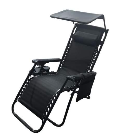Scaun tip sezlong, pliabil, ajustabil, cu tetiera, cotiere, suport lateral si acoperis, pentru gradina sau terasa, culoare negru