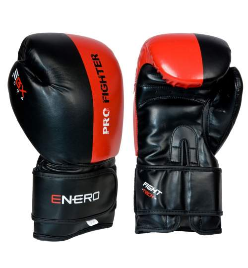 Manusi de Box Enero Pro Fighter, 10 OZ, negru/rosu