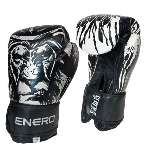 Manusi de Box Enero Tiger, 10 OZ, alb/negru