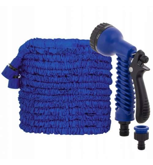 Furtun de Gradina Extensibil, cu Pistol, 20-60m, Culoare Albastru