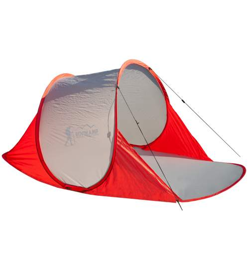 Cort pentru Plaja Semi-deschis, sistem Pop-up, Protectie UV, 200 x 114 x 85 cm, Rosu/Gri