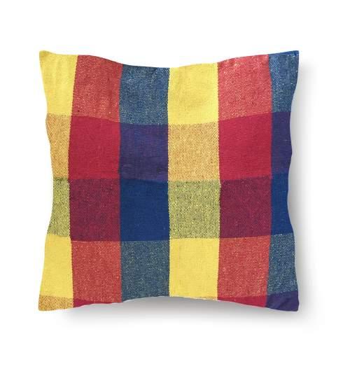 Perna din bumbac pentru leagan sau hamac, 45x45cm, rosu/albastru