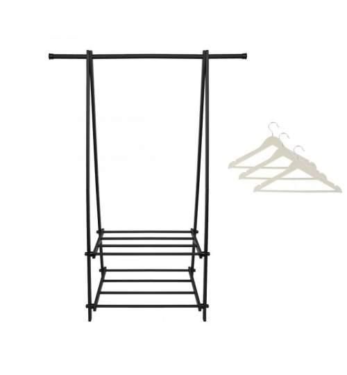 Suport pentru Haine sau Umerase cu 2 Rafturi Inferioare, Culoare Negru si Set 3 Umerase albe din Lemn, Lungime 42cm