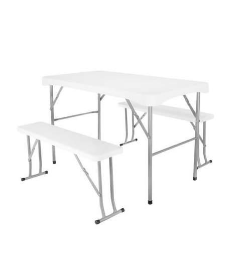 Set mobilier pentru curte sau gradina pliabil masa 113 cm + 2 banci, culoare Alb