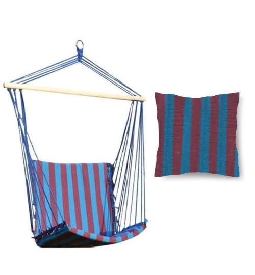 Hamac tip Scaun, 100x50cm, Capacitate 120kg, Albastru/Mov cu Perna din bumbac, 45x45cm, multicolor