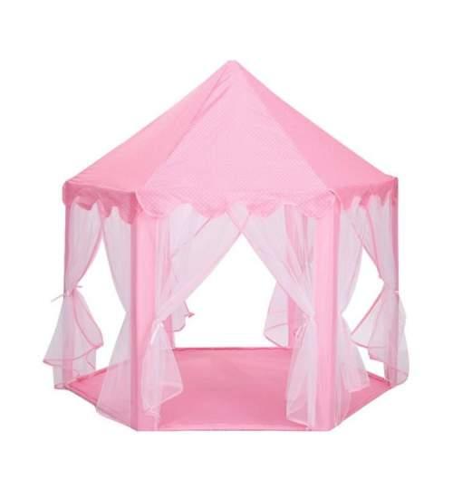 Cort de joaca pentru copii, pliabil, 135x140 cm, culoare roz