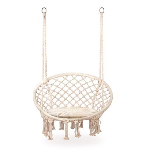 Leagan balansoar suspendat rotund, pentru casa sau gradina, cu perna inclusa, 150kg, alb