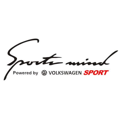 Sticker auto Sport Mind Volkswagen Sport, alb