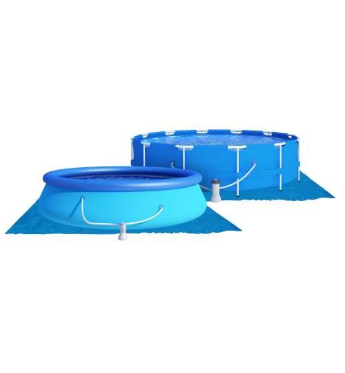 Covor de protectie universal pentru piscina, din PVC, dimensiune 3.96x3.96m, albastru