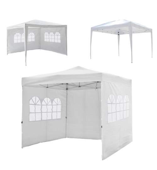 Cort pavilion pentru curte, gradina sau evenimente, cu deschidere/inchidere automata, dimensiuni 3x3m, culoare Alb