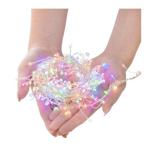 Instalatie decorativa LED de Craciun, cu 8 functii, 300 led-uri, multicolor, 3m, 220V