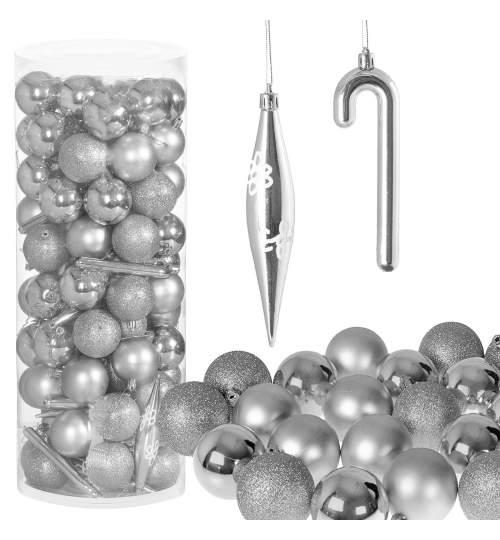 Set 100 Globuri si Decoratiuni de Craciun pentru Brad, din Plastic, argintiu