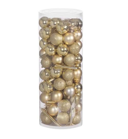 Set 100 Globuri si Decoratiuni de Craciun pentru Brad, din Plastic, auriu