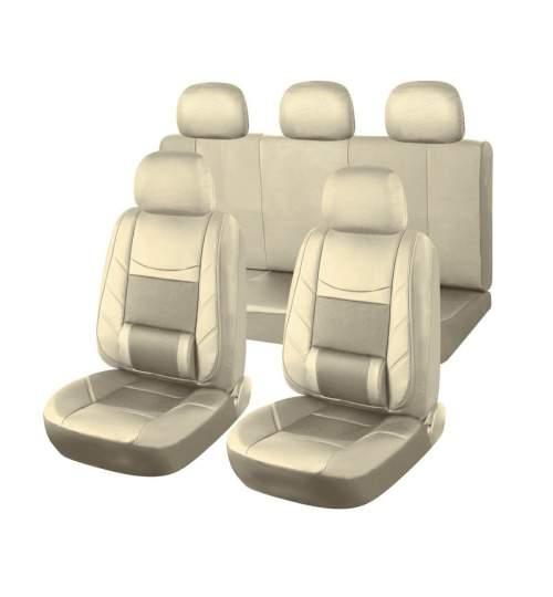 Set huse scaune auto Universale din piele ECO, fata si spate, ortopedice, culoare bej