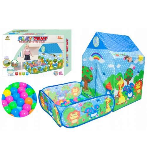 Cort de joaca casa si gradina cu 50 bile colorate, 140x70x103cm, multicolor