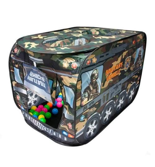 Set Cort de joaca pentru copii pliabil tip vehicul militar, cu 50 bile multicolor, 112x67x72cm