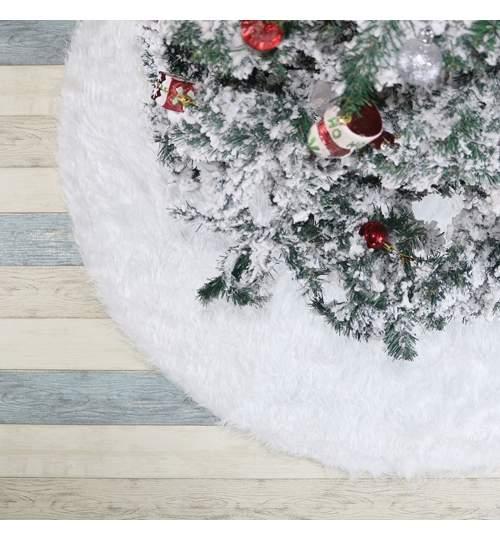 Covor rotund imitatie blana, pentru bradul de Craciun, diametru 122 cm, blanita culoare alb