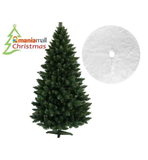 Brad artificial de Craciun, Verde Himalaya 220 cm cu suport  Si Covor rotund din blana artificiala, diametru 122 cm, alb