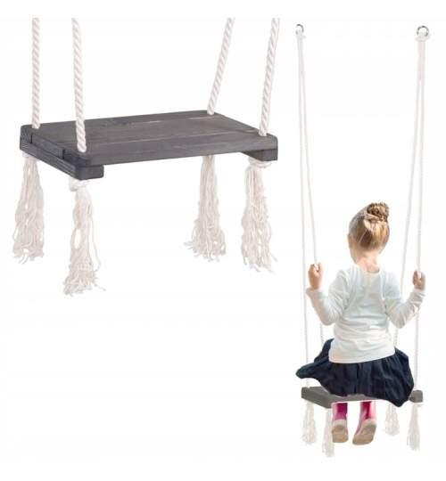 Leagan Balansoar din Lemn pentru Copii, capacitate 40kg, sezut 42x18 cm, grafit