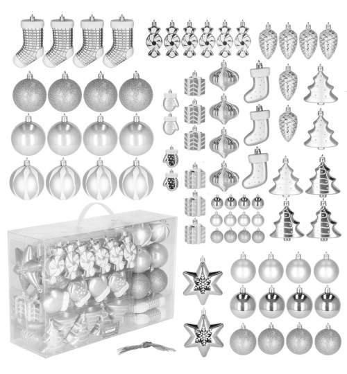 Set 72 Globuri Decoratiuni de Craciun pentru Brad, din Plastic, Argintiu