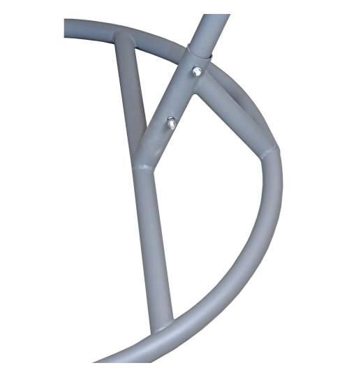 Leagan Balansoar suspendat tip Scoica, cu Perna si Suport Metalic, inaltime 197cm, 130kg, Culoare Gri