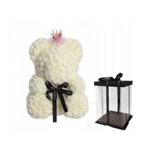 Ursulet floral BIG 40 cm Queen DeLuxe Alb cu fundita, cu coronita + cutie de cadou ManiaMagic