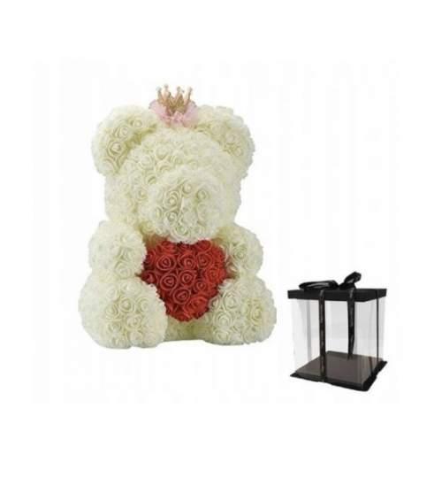 Ursulet Floral BIG 40 cm DeLuxe Queen Alb cu Inimioara Rosie cu coronita + cutie de cadou ManiaMagic