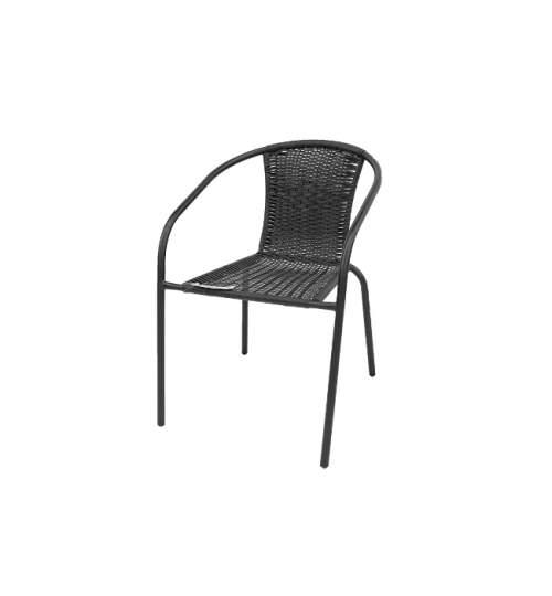 Scaun din Ratan cu Cadru Metalic, pentru Terasa sau Gradina, 51.5x61x72 cm, Negru