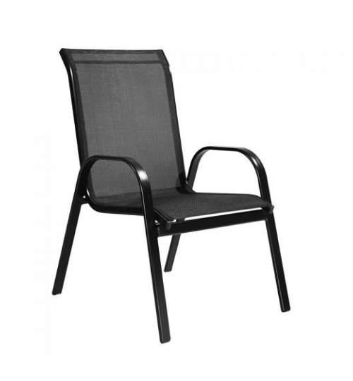 Scaun cu cadru metalic Arkadia pentru curte sau gradina, dimensiuni 56x68x93cm, negru