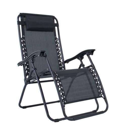 Scaun pliabil tip Sezlong DELUX, Reglabil cu Tetiera pentru Gradina sau Terasa, 120kg, Culoare Negru