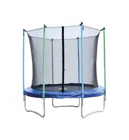 Trambulina pentru copii Mirpol, diametru 244cm / 8ft, cu plasa exterioara, capacitate 110 kg, negru/albastru