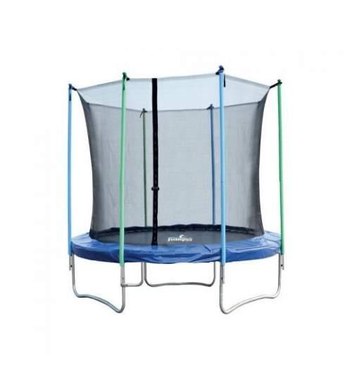 Trambulina pentru copii si adulti Mirpol, diametru 305cm / 10ft, cu plasa exterioara, capacitate 150 kg, negru/albastru