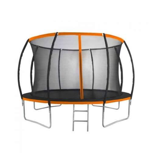 Trambulina pentru copii si adulti Mirpol, diametru 366cm / 12ft, cu plasa exterioara si scara, capacitate 150 kg, negru/portocaliu