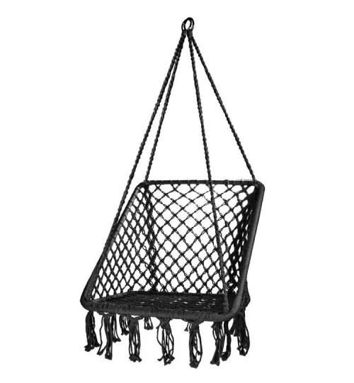 Leagan balansoar dreptunghiular suspendat pentru casa sau gradina, cu franjuri, 150kg, negru