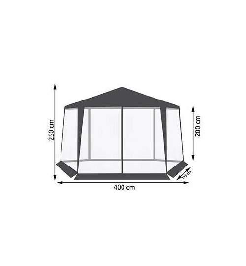 Cort Pavilion hexagonal pentru Curte sau Gradina cu 6 laturi si plasa de tantari, latime 400cm, culoare gri