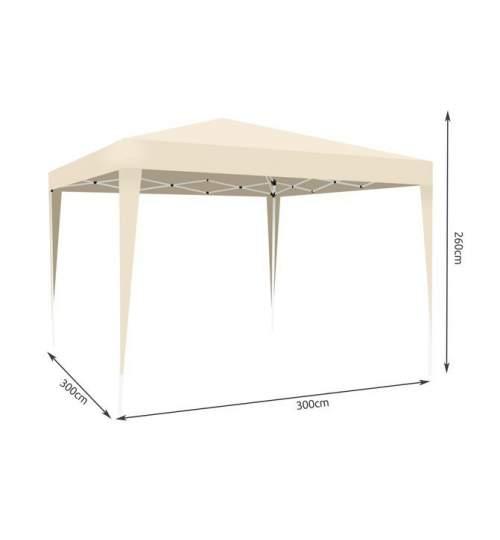 Cort pavilion pliabil pentru gradina, curte sau evenimente 3x3m, cu deschidere si inchidere automata, culoare Bej