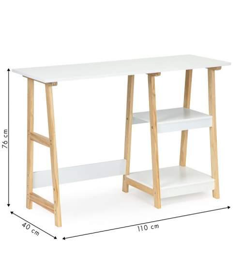Birou sau Masa Toaleta pentru Machiaj Multifunctionala, cu 2 rafturi, 110x76x40 cm, Culoare Alb